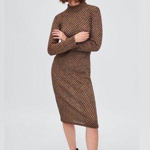 Zara Trafaluc Metallic High Neck Long Sleeve Dress